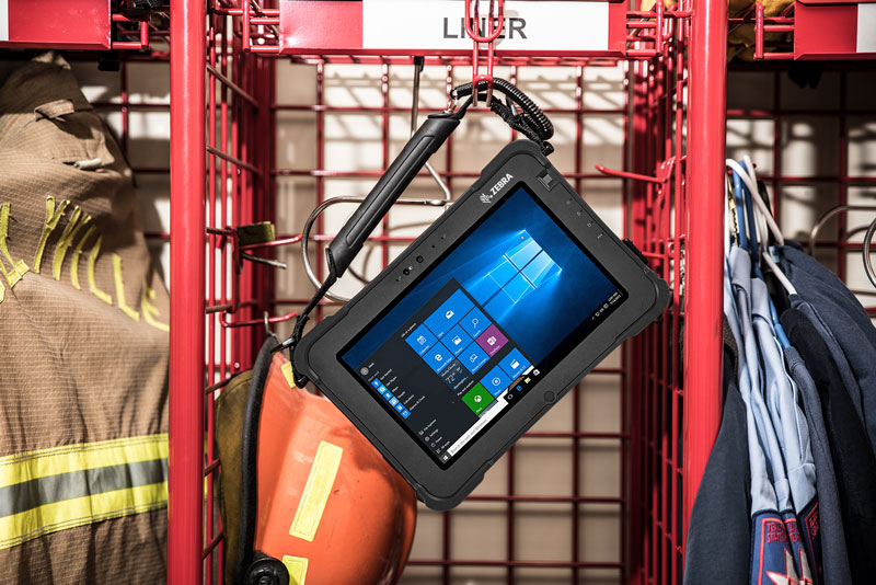 Zebra XSLATE L10 hanging with Public Safety Fire Equipment