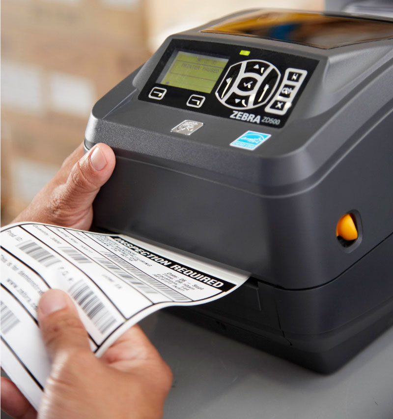 A Zebra Barcode Printer Printing a Label Very Fast