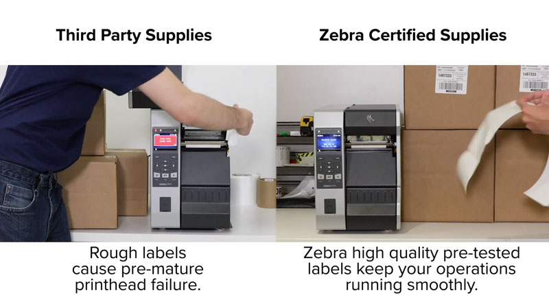 Zebra Certified Supplies keeps your Printer Longevity running smoothly compared to third party supplies